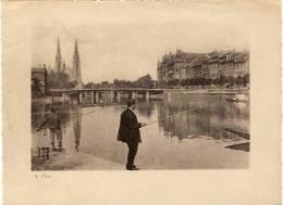 Strasbourg-l'ill-pecheur à La Ligne- - Vue - Gravure Photo Papier -format 18.7x13.7 - Reproductions