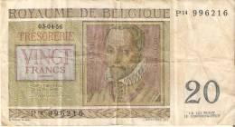 BILLETE DE BELGICA DE 20 FRANCOS DEL AÑO 1956  (BANKNOTE) - [ 6] Tesorería