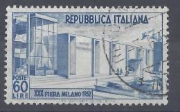 ITALIE - 1952 - N° 623 -  OBLITERE - TB - - 6. 1946-.. Republic