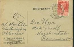 Nederland Postkaart Met NVPHno. 123 Gestempeld Oldenzaal 12-VII-1924 En Bestellersstempel (22455) - Periode 1891-1948 (Wilhelmina)