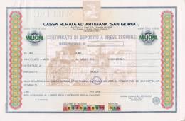 """CASSA RURALE ED ARTIGIANA  """"SAN GIORGIO""""/ Certificato Di Deposito A Breve Termine _ Fino A 100 Mln Di Lire - ANNULLATO - Banque & Assurance"""