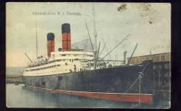 "Ship  Boat   S. S .  "" CARONIA  ""        AK - Dampfer"