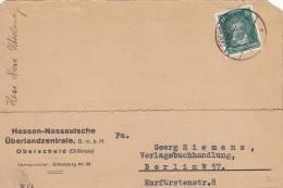 DR 389 EF, Auf Geschäfts-Postkarte Der Hess.-Nass. Überlandzentrale, Stempel: Oberscheid 11.2.1928 - Gebraucht
