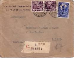 PEROU-L´ATTACHE COMMERCIAL DE FRANCE AU PEROU-LETTRE RECOMMANDEE DE LIMA 4-9-1933 POUR LYON-VERSO CACHET BLEU DELEGATION - Pérou