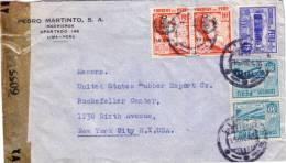 PEROU - GUERRE 39-45 - BANDE DE CENSURE DE LIMA POUR NEW YORK USA EN 1943. - Peru