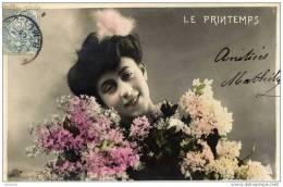 FEMME-LE PRINTEMPS -Fleurs- Précurseur Dos 1900 Dos Non Divisé - Mujeres