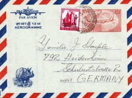 INDIEN, 85 P GANZSACHE AUF AEROGRAMM, ZUSATZFRANKIERUNG, 1972, NASHORN - Briefe U. Dokumente