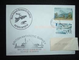 LETTRE TP SHERIDAN PEAK 60P + HUMPBACKWHALE 5P OBL. 11 Ot 09 KING EDWARD + RRS JAMES CLARK ROSS - Britisches Antarktis-Territorium  (BAT)