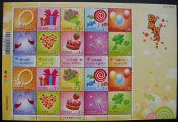 NT$3.5 2009 Happy Times Stamps Sheet Champagne Liquor Wine Pearl Bouquet Rose Candy Balloon Heart Cake Chocolate - Wines & Alcohols