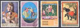 India 1973 Indian Miniature Paintings Set Of 4 Used - Camel, Elephant, Dance - India