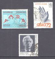 India 1972 Selected Issues Used - Olympics, Buddha's Hand, Bertrand Russell - India