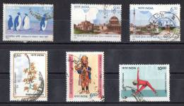 India 1991 Selected Issues Used - Antarctic, New Delhi Jubilee, Orchid, Handicrafts, Yoga - India