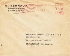 8407# LETTRE ENTETE VERNAUX VINS BOURGOGNE AFFRANCHISSEMENT MECANIQUE BEAUNE COTE D'OR 1949 CHARLEVILLE ARDENNES - 1921-1960: Modern Period