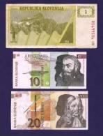 SLOVENIA 1992, 6 Banknotes, USED VF 1,10,20,50,100,200 Tolarjev 50 Korun, - Slovenië