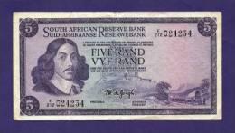 SOUTH AFRICA 1967,   Banknote , USED VF,  5 Rand Wm Springbok, 111b - South Africa