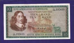 SOUTH AFRICA 1967,   Banknote , USED VF,  10 Rand Wm Springbok, Afrikaans, 114b - South Africa