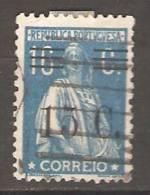PORTUGAL-1928-1929,  CERES, Com Sobretaxa. P. Liso, F. M. Ou Esp. D. 12x11 1/2,   15 S/ 16 C.  Azul  (0)  Afinsa  Nº 459 - Usado