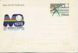 ITALIA - BIGLIETTO  POSTALE 1978 - MONDIALI DI BASEBALL - SPORT - 6. 1946-.. Repubblica