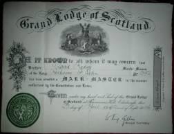 Freemasonry, Masonic Lodge, La Grande Loge D´Ecosse, Franc-maçonnerie, Maçonnique Certificat En Très Bon état, As Scan - Diploma & School Reports