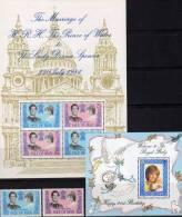 Hochzeit Charles Mit Diana Spencer 1981 Insel Man 194/5,Block 5 Plus 6 ** 12€ Porträt Lady Di Honeymoon Bloc Sheet Of UK - Man (Insel)