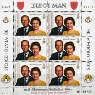 60.Geburtstag Der Queen Elisabeth II. 1986 Insel Man 321 Im 6-KB ** 12€ Porträt Des König-Paar Mit Philip Sheetlet Of UK - Man (Ile De)