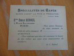 Carte De Visite.CDV.Etats Emile Reboul Nîmes. Spécialités De Cafés. - Visitekaartjes