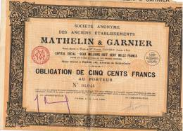 1929 - Obligation - Société Anonyme Des Anciens Etablissements  MATHELIN & GARNIER + 31 Coupons - Actions & Titres