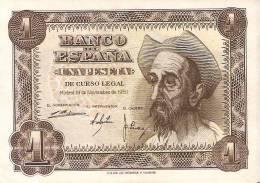 BILLETE DE ESPAÑA DE 1 PTA DEL AÑO 1951 SIN CIRCULAR EL QUIJOTE  SERIE H - 1-2 Pesetas
