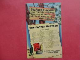 $ 500.00 Re-ward Cattle Thieves   Linen==== = = = =  = =ref 766 - Chandler