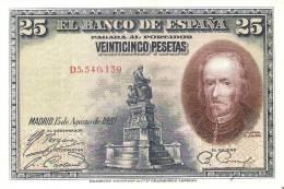 BILLETE DE ESPAÑA DE 25 PTAS DEL AÑO 1928 EBC+ SERIE D  (BANKNOTE) - 1-2-5-25 Pesetas