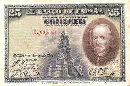 BILLETE DE ESPAÑA DE 25 PTAS DEL AÑO 1928 RC SERIE E  (BANKNOTE) - 1-2-5-25 Pesetas