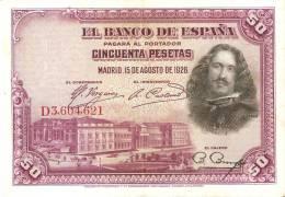 BILLETE DE ESPAÑA DE 50 PTAS DEL AÑO 1928 SERIE D CALIDAD MBC (BANKNOTE) - [ 1] …-1931 : Premiers Billets (Banco De España)