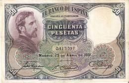 BILLETE DE 50 PTAS DE 1931 E. ROSALES SIN SERIE CALIDAD BC   (BANKNOTE) - [ 1] …-1931 : Primeros Billetes (Banco De España)