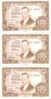 LOTE DE 3 BILLETES CORRELATIVOS DE 100 PTAS DEL 7/04/1953 SERIE 1U  EBC+  (BANKNOTE) - [ 3] 1936-1975 : Régimen De Franco