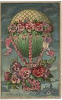 MONTGOLFIERE Avec Fleurs, Pensée, Carte Dorée Et Gauffrée - Fesselballons