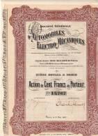 Automobilles Electro Mécaniques Action De 100frs  .1907 - Auto's