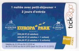 Carte Cadeau  TICK & GO.   Europa Park.     Etat Luxe.   Gift Card.  Geschenkkaart.  Tarjeta Regalo. - Gift Cards