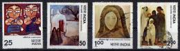 India 1978 Modern Indian Paintings Set Of 4 Used - India