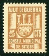 SITGES  (Barcelona)  Ajut De Guerra  5 Cts  Ocre  * - Spanish Civil War Labels
