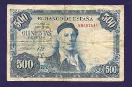 SPAIN 1954, Banknote, USED VF, 500 Peseta´s Km 148 (folded) - [ 3] 1936-1975: Regime Van Franco