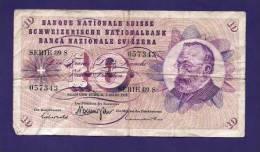 SWITSERLAND 1973, Banknote, USED VF,  10 Franken Km 174 (folded) - Zwitserland