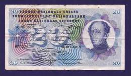 SWITSERLAND 1974, Banknote, USED VF,  20 Franken Km 175 (folded) - Zwitserland