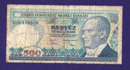 TURKEY 1970 Law,  Banknote, USED FINE,  500 Lira Km 126  (torn) - Turkey