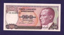 TURKEY 1970 Law,  Banknote, UNC,  100 Lira Km 132 - Turkey