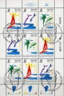 Genazareth Palmen Am See 1992 Israel 1214/6TAB Im 9-KB SST 45€ Sonne Segelboot Fische Tourismus Bf Bloc Sheetlet Of Asia - Blocs-feuillets