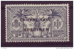 NOUVELLES HEBRIDES 20 CTS/2 D CHIFFRE TAXE YT #2 SPECIMEN - Ongebruikt