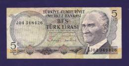TURKEY 1970 Law,  Banknote, USED VF,  5 Lira Km 117 - Turkije