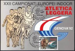 ATHLETICS - ITALIA GENOVA 1992 - XXII CAMPIONATI EUROPEI INDOOR D´ATLETICA LEGGERA - CARTOLINA UFFICIALE UIFOS - Atletica