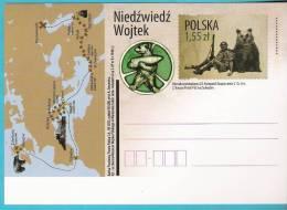 Poland 2012,entire,postcard, II War Guerre Army Bear Map Castle Ours Chateau Carte Insigne Badge Carte - Guerre Mondiale (Seconde)
