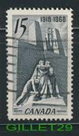 CANADA, STAMPS - 1918-1968 CANADIAN VIMY MEMORIAL NEAR ARRA, FRANCE - SCOTT No 486 - 0.15 CENTS - USED - - 1952-.... Règne D'Elizabeth II